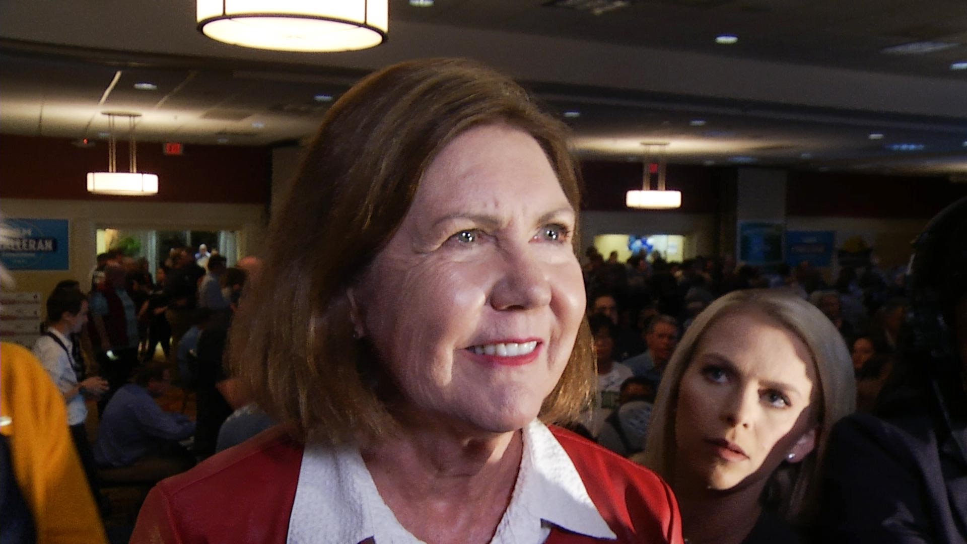U.S. Rep. Ann Kirkpatrick speaks to the media, Election Day, Nov. 6, 2018.