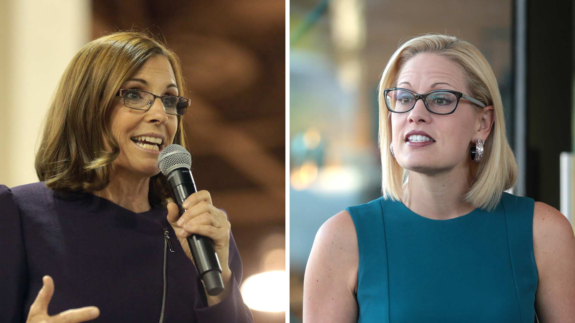 Martha McSally, left, and Kyrsten Sinema.
