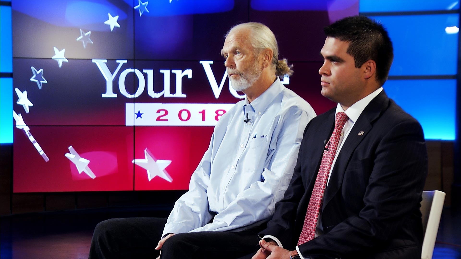 Democrat Gary Jones (left) and Republican John Dalton (right) participate in an interview at Arizona Public Media about the 2018 midterm election results.