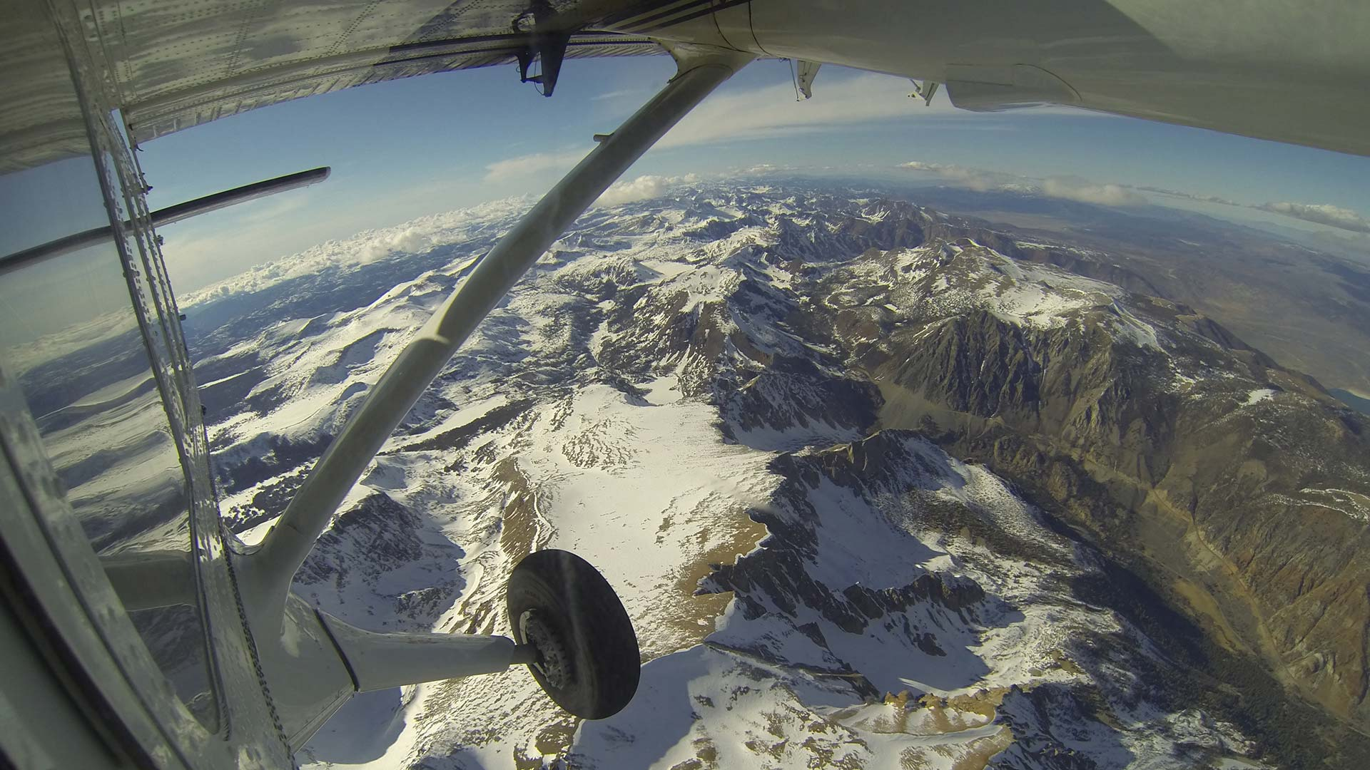 Above Yosemite National Park in California, looking out the window of a Twin Otter aircraft carrying NASA's Airborne Snow Observatory on April 3, 2013.