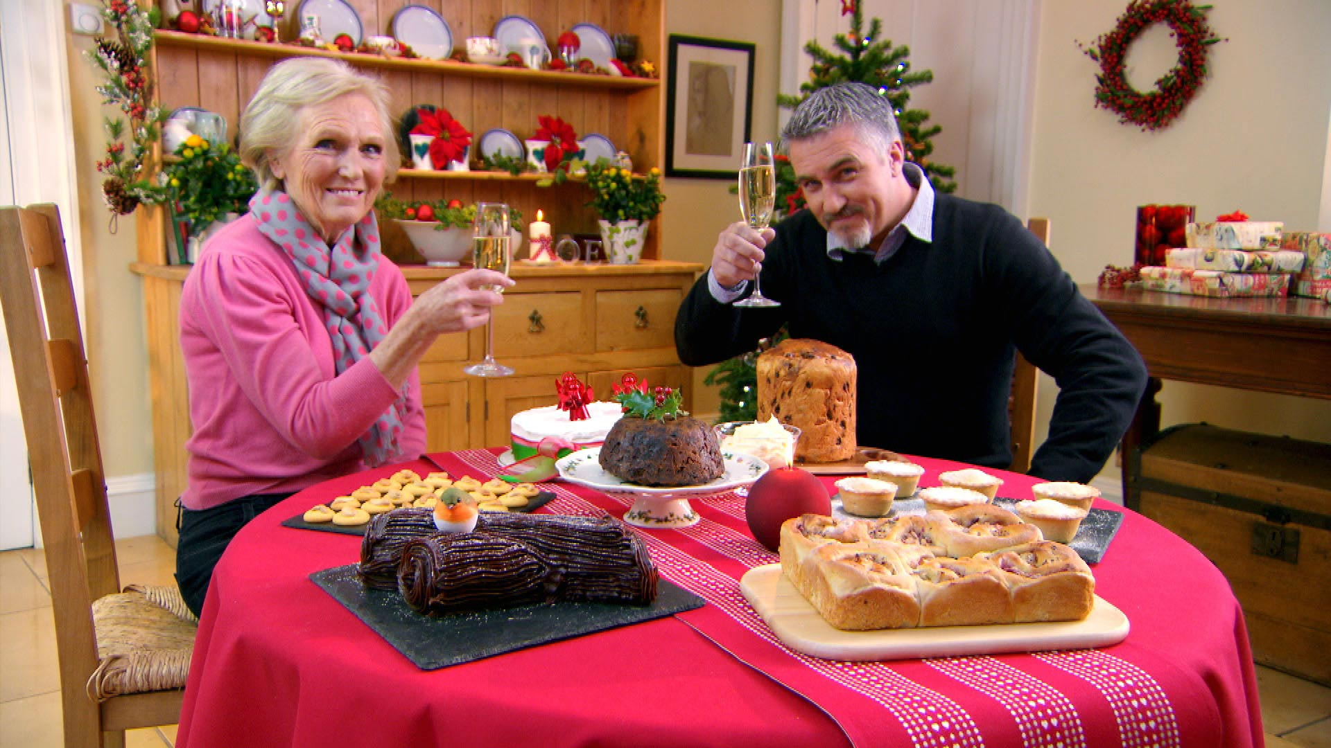 "Join ""Queen of Cakes"" Mary Berry and master baker Paul Hollywood for a special Christmas masterclass."