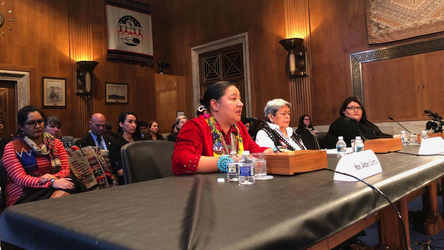 Navajo Council Delegate Amber Kanazbah Crotty sits alongside indigenous women giving testimony before the Senate Committee on Indian Affairs about missing and murdered indigenous people.