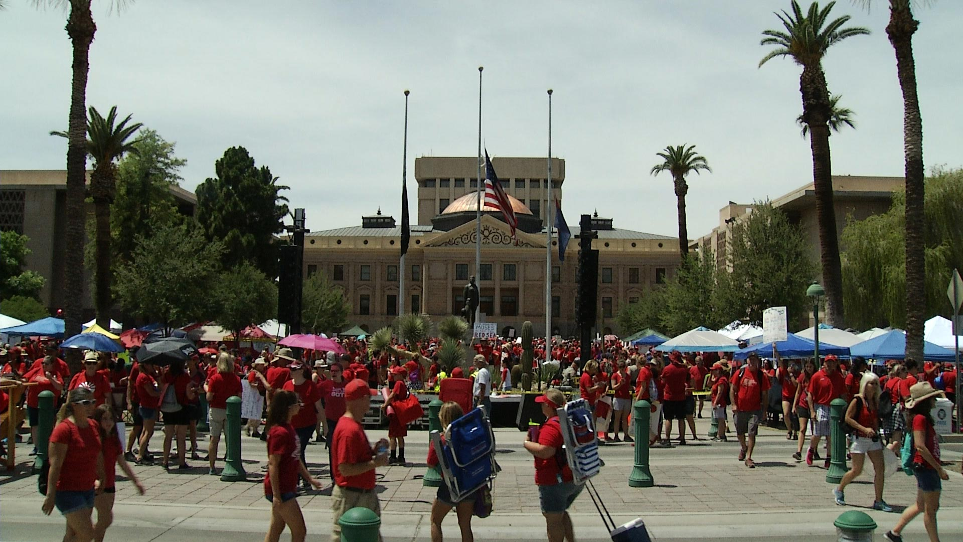 Red for Ed demonstrators assembled outside the Arizona Capitol on April 30, 2018.