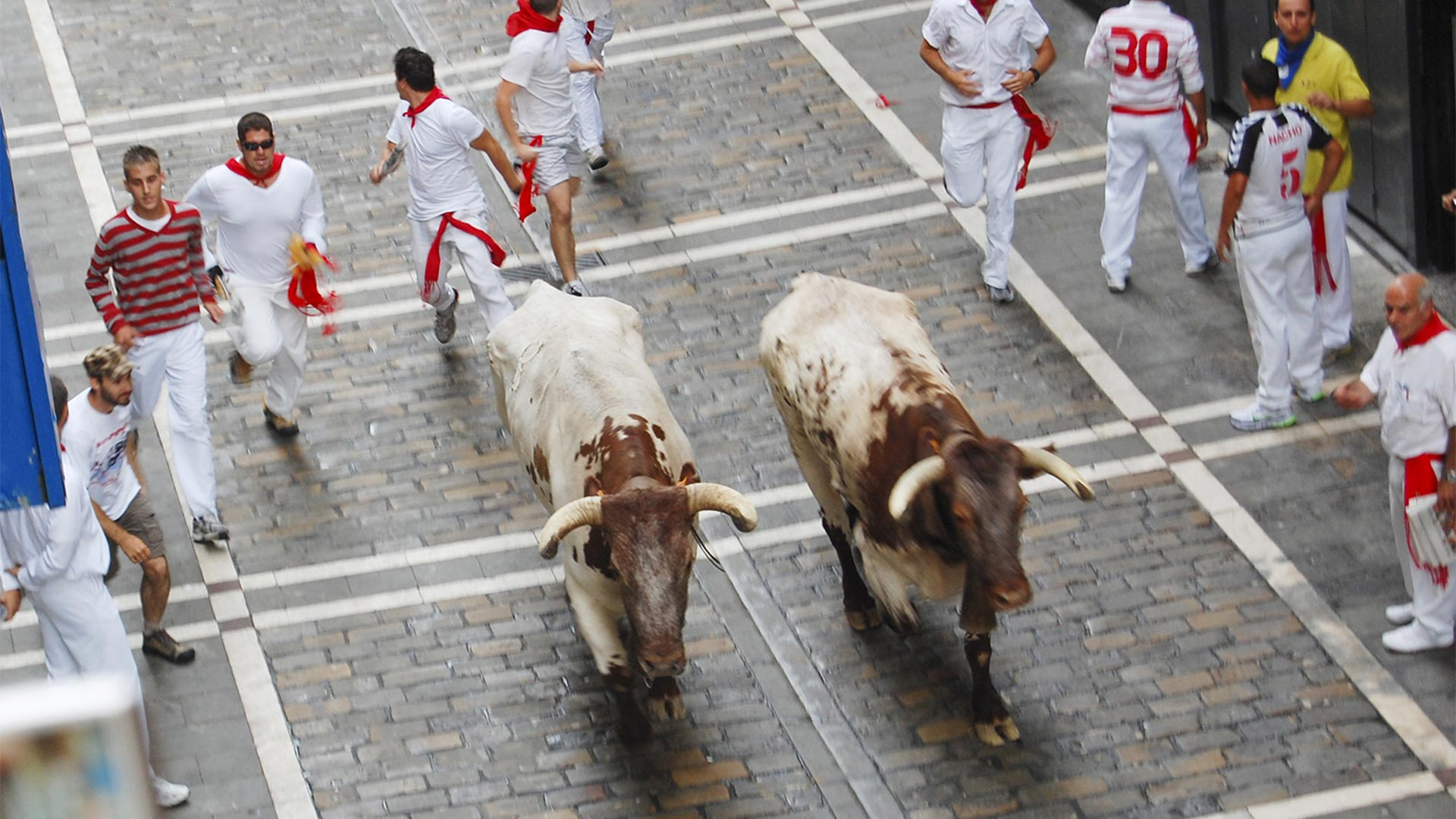 The Running of the Bulls in Pamplona, Spain.