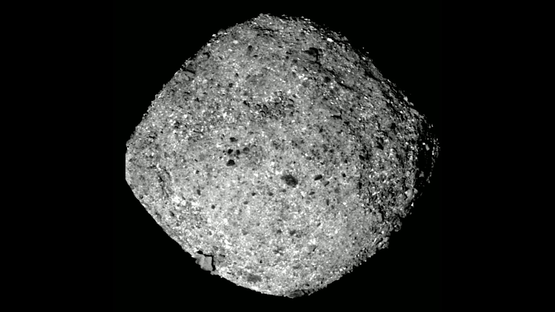 An image of the asteroid Bennu photographed by the OSIRIS-REx spacecraft.