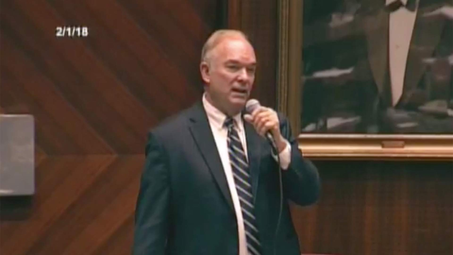 Don Shooter speaks prior to a vote on the Arizona House floor that led to his expulsion from the Legislature, Feb. 1, 2018
