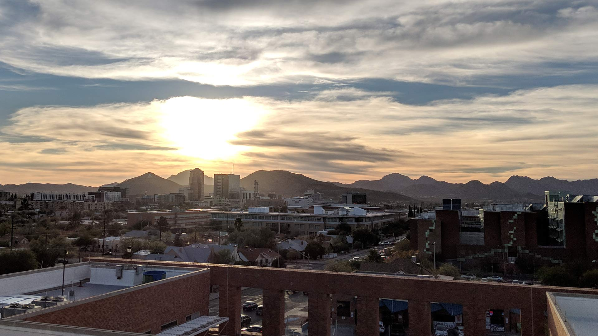 Looking toward downtown Tucson as the sun goes down, January 2018.