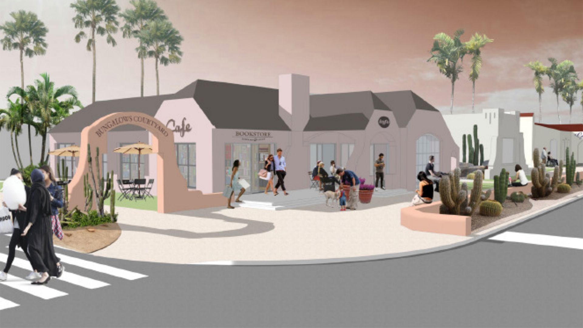An artists' rendering of what a plaza built around the bungalows could look like.