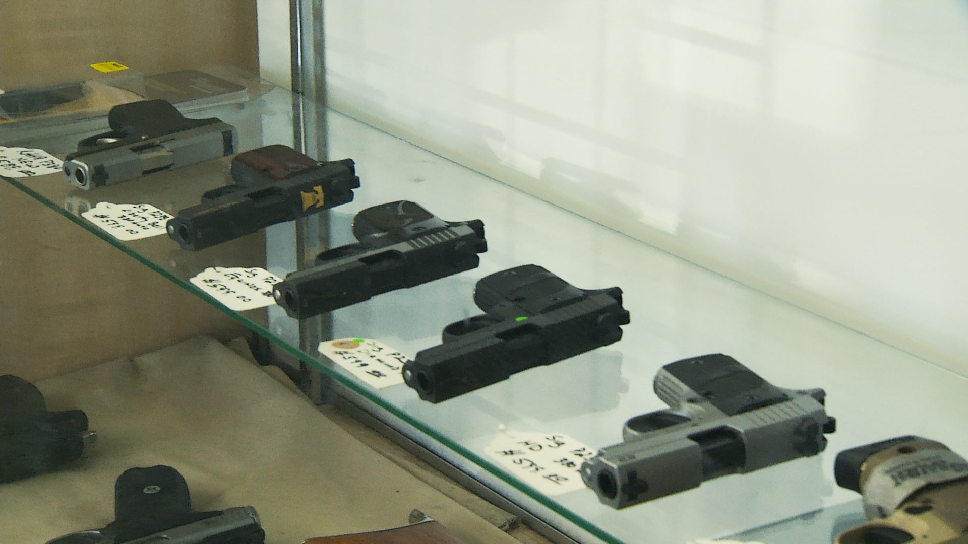 Guns on display in a Tucson store.