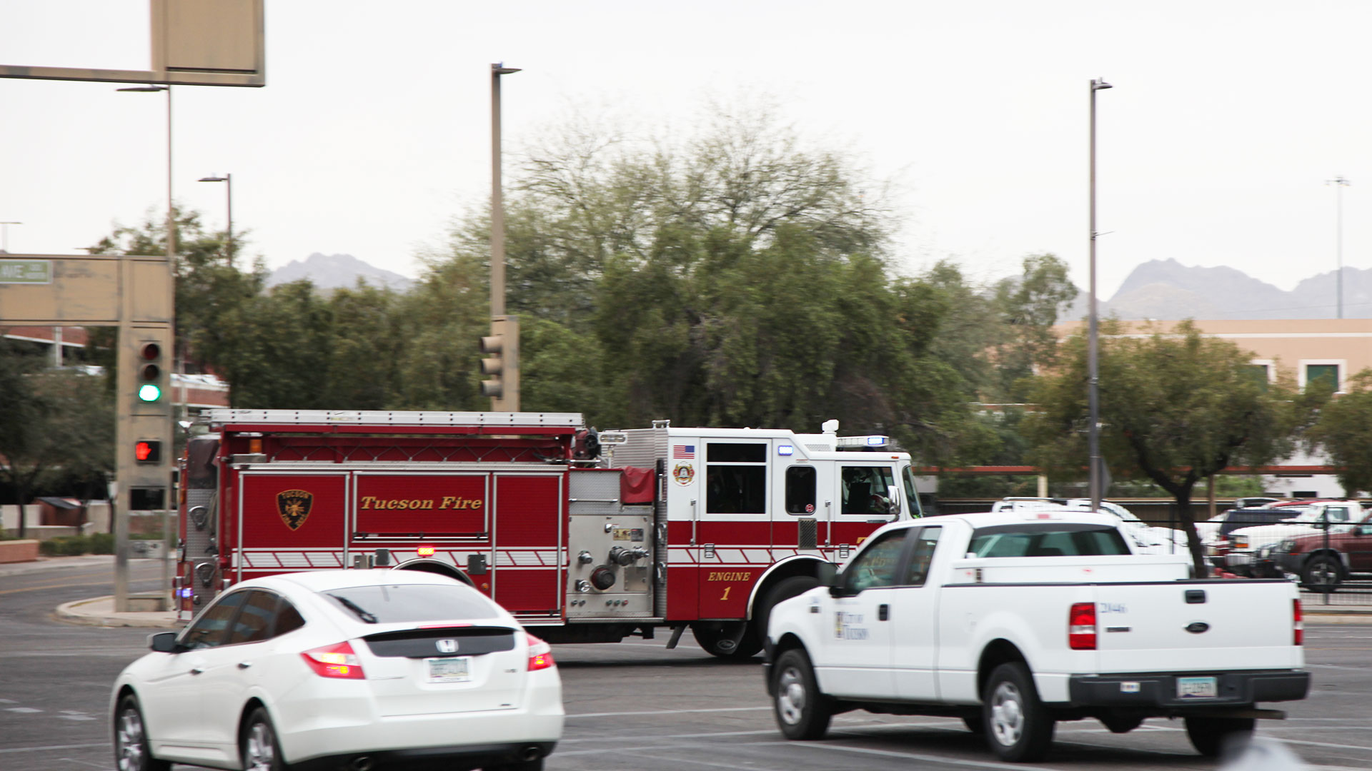 Tucson Fire Department responding to a call in downtown Tucson.