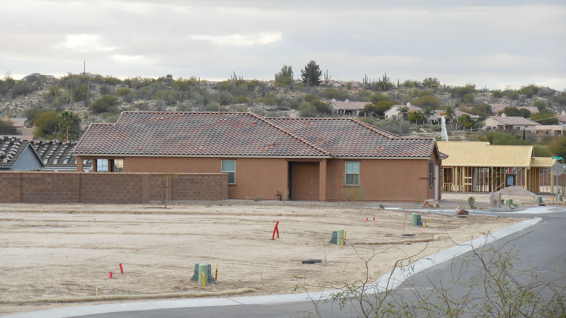 New homes and new home construction on Tucson's northwest side. February 2018