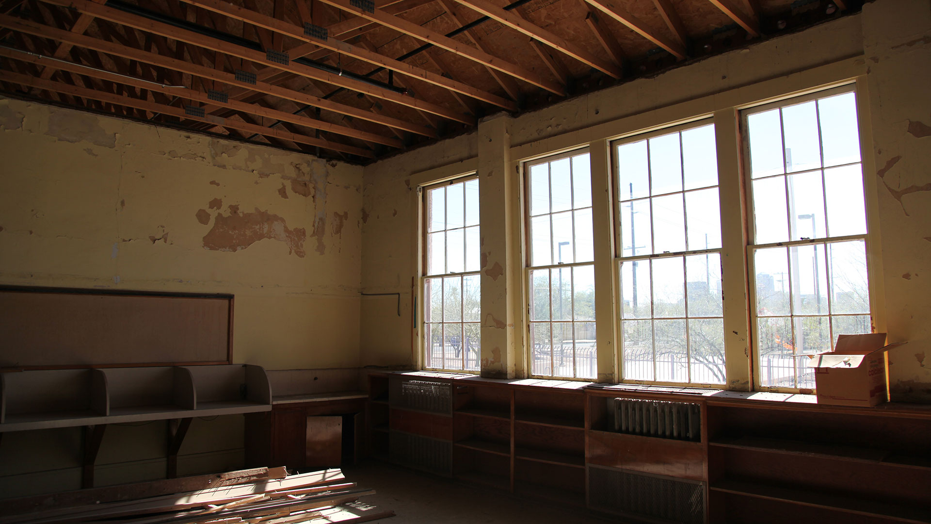 The rooms at Dunbar Pavilion are in different stages of repair.