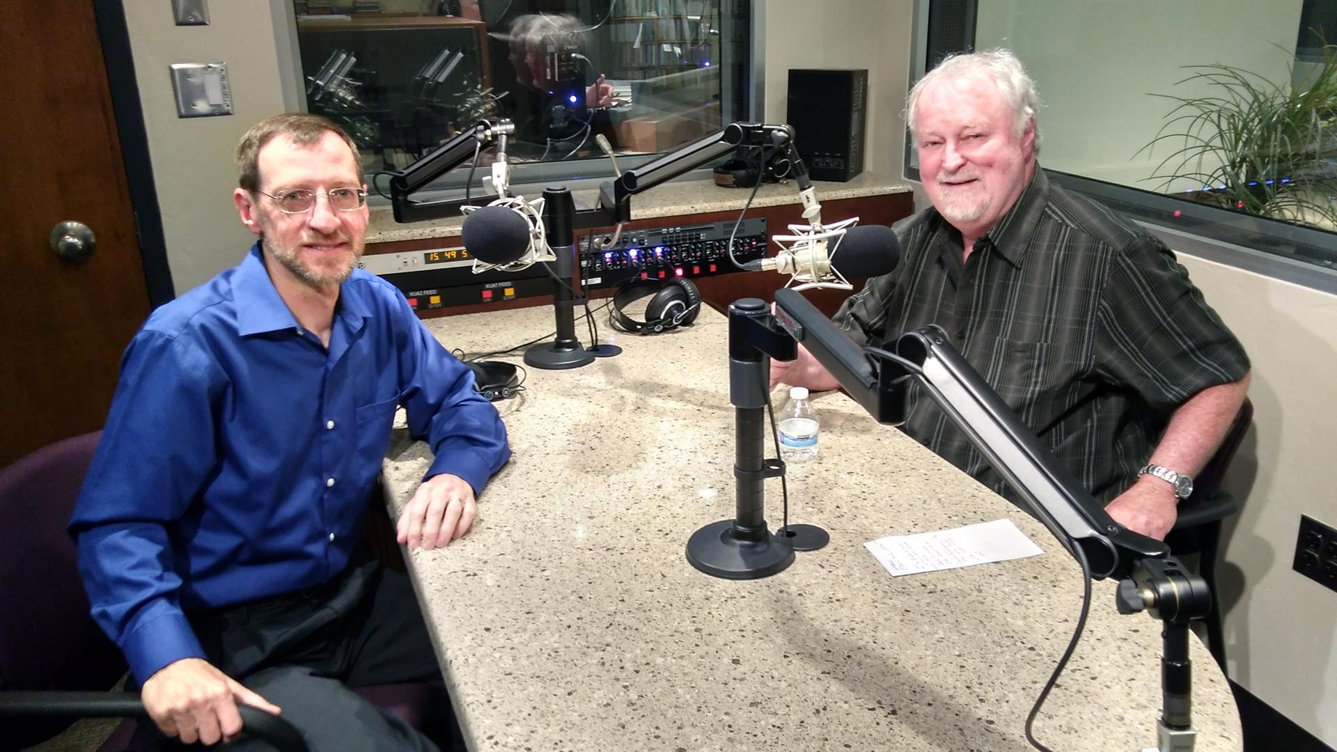 """Exploring Music"" host, Bill McLaughlin, visits with Andy Bade at the AZPM radio studios."