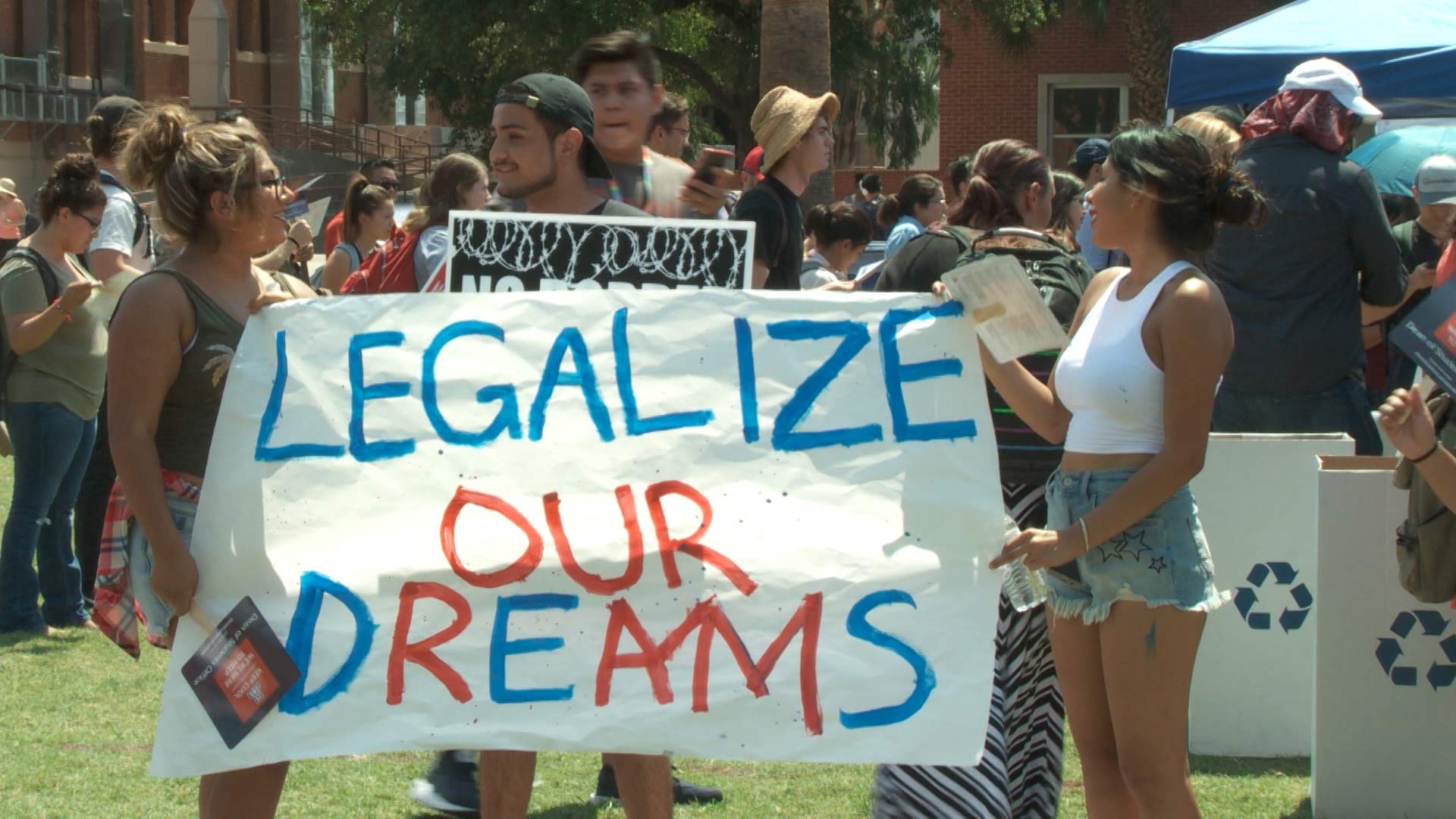 "Young people demonstrate on the University of Arizona campus in support of ""Dreamers."""
