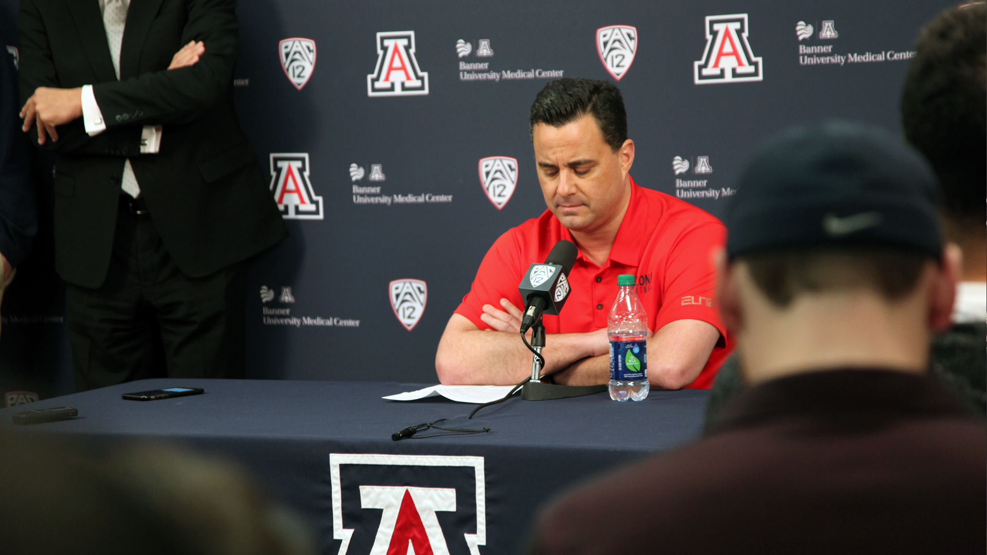 UA basketball coach Sean Miller speaks at a press conference, Thursday, March 1, 2018.