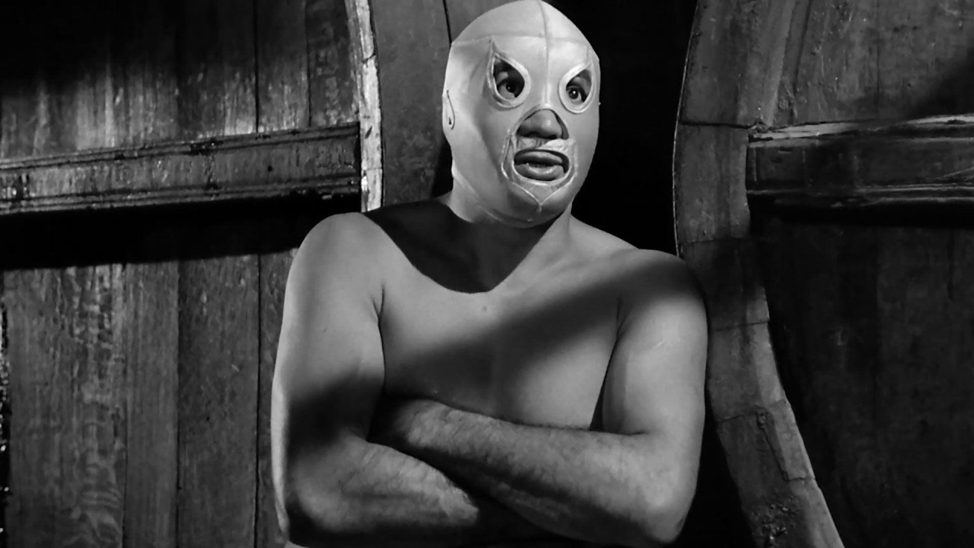 "The masked wrestler El Santo, a Mexican film star and folk hero, appearing in ""El Santo contra El Cerebro del Mal"", part of the 2018 Tucson Cine Mexico film festival."