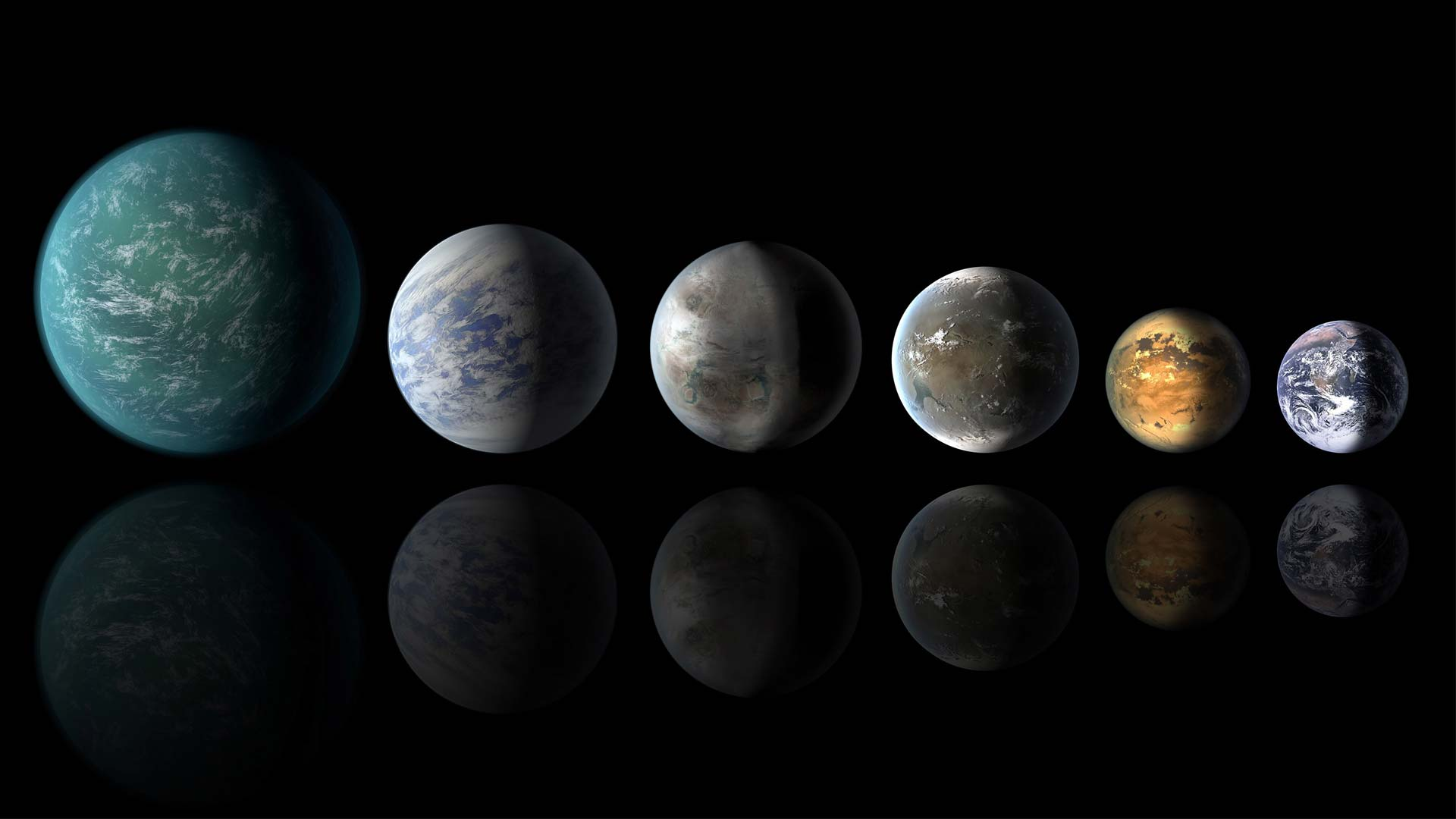 An artist's conception shows habitable-zone exoplanets with similarities to Earth: from left, Kepler-22b, Kepler-69c, Kepler-452b, Kepler-62f and Kepler-186f. Last in line is Earth itself.