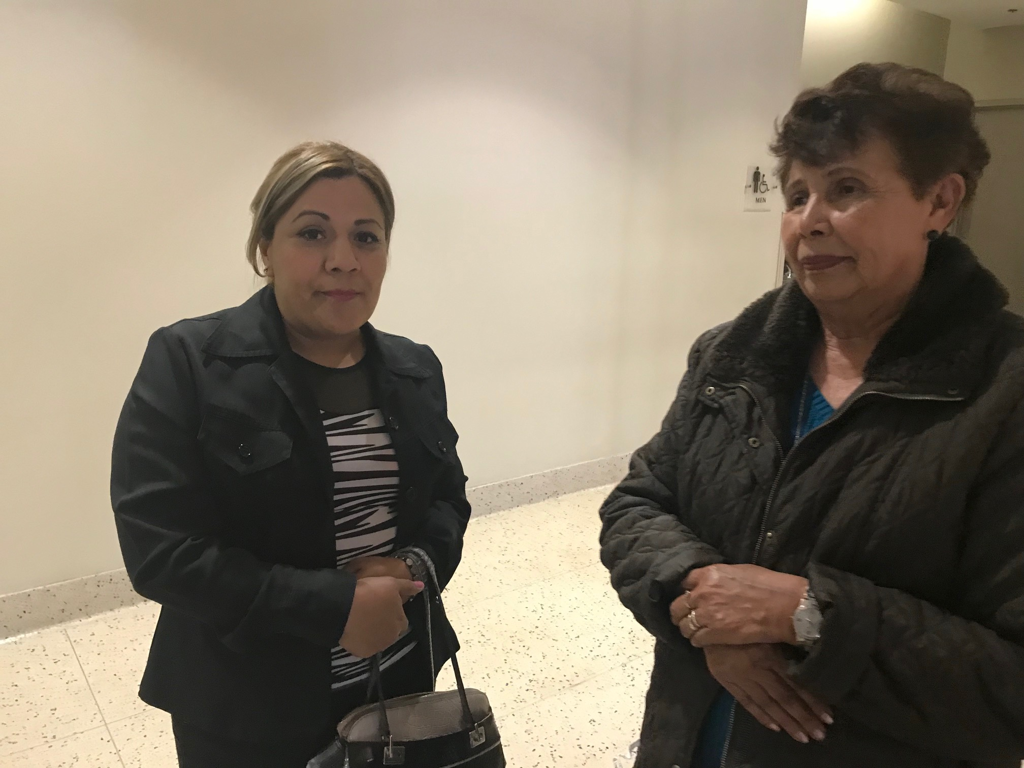 Family members Araceli Rodriquez and Taide Elena wait to enter the courtroom where a U.S. Border Patrol agent is on trial for the death of 16-year-old Jose Antonio Elena Rodriguez.