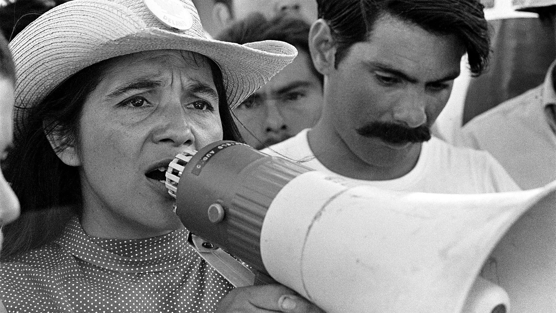 United Farm Workers leader Dolores Huerta organizing marchers on the 2nd day of March Coachella in Coachella, CA 1969.