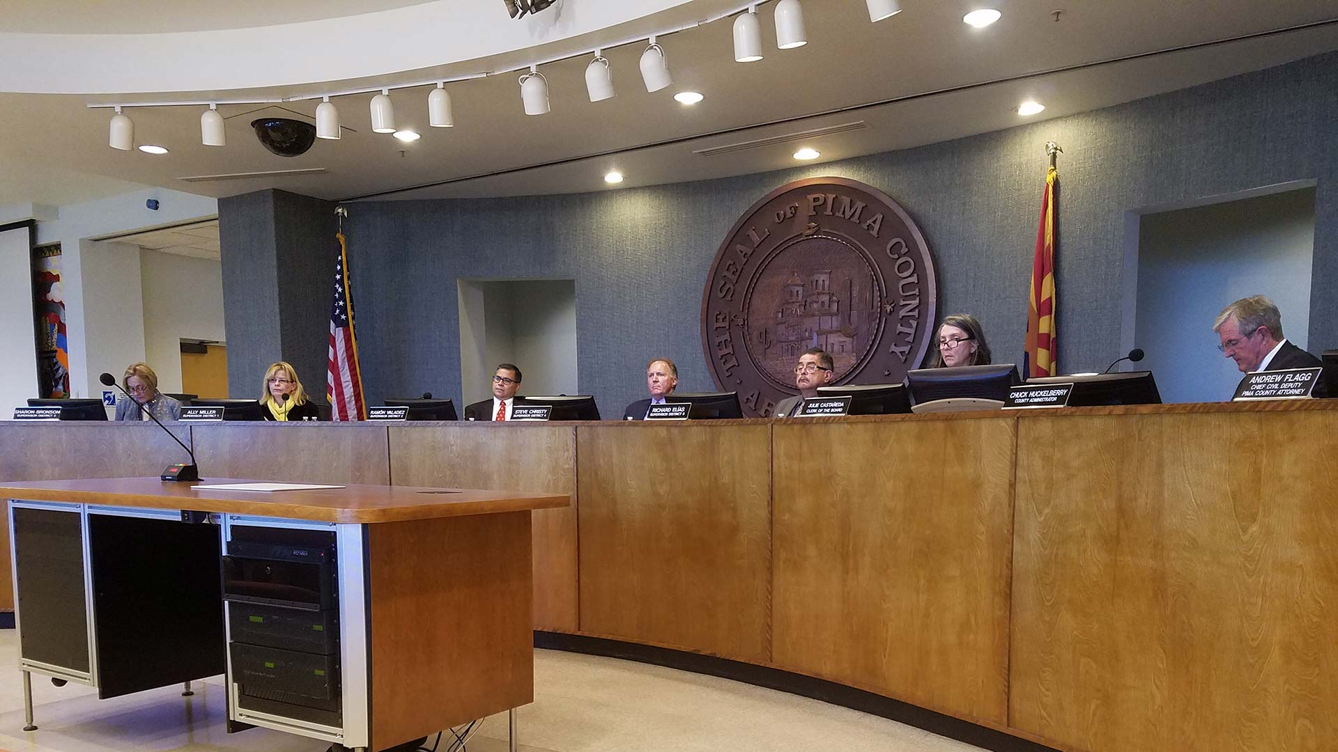 The Pima County Board of Supervisors at a March 20, 2018 meeting.