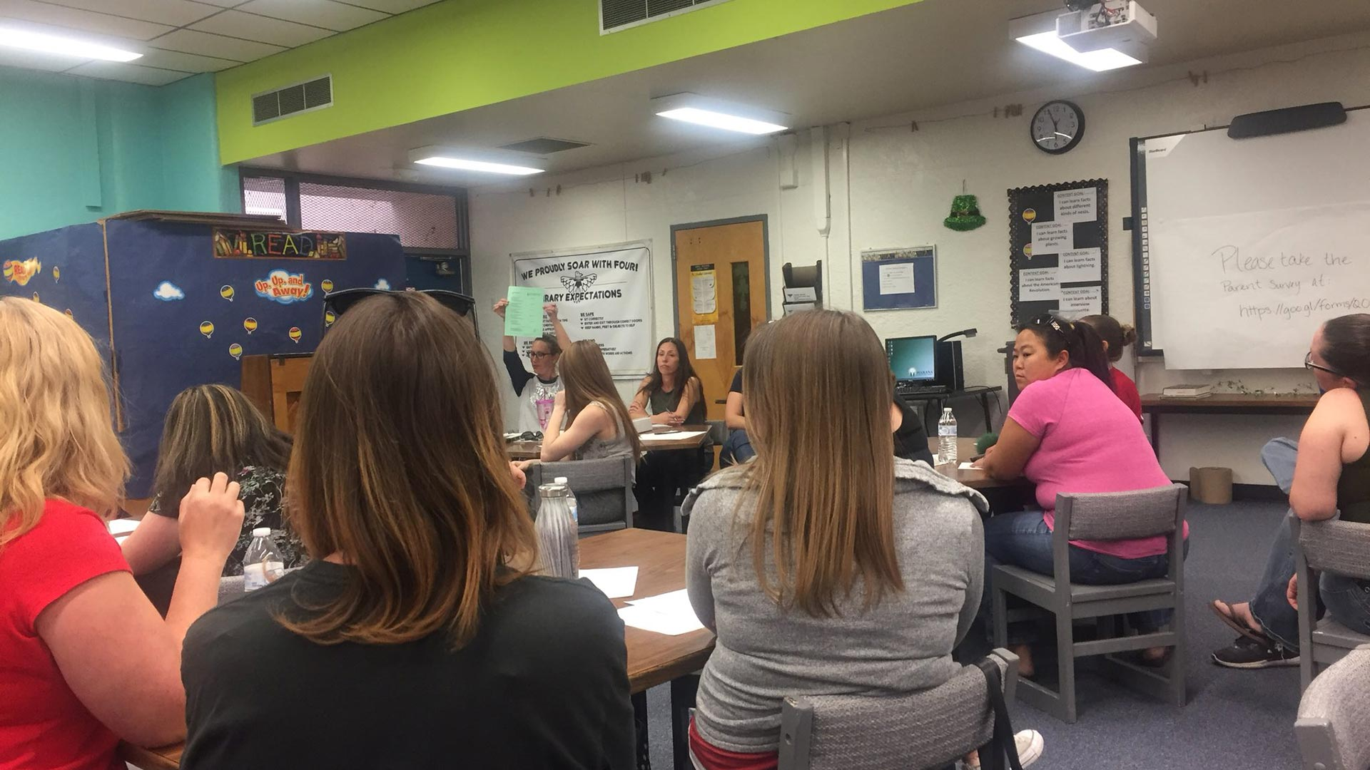 At a March 7 PTO meeting at Thornydale Elementary, parents discuss what they can do after finding out Marana Unified School District may opt to close the school.