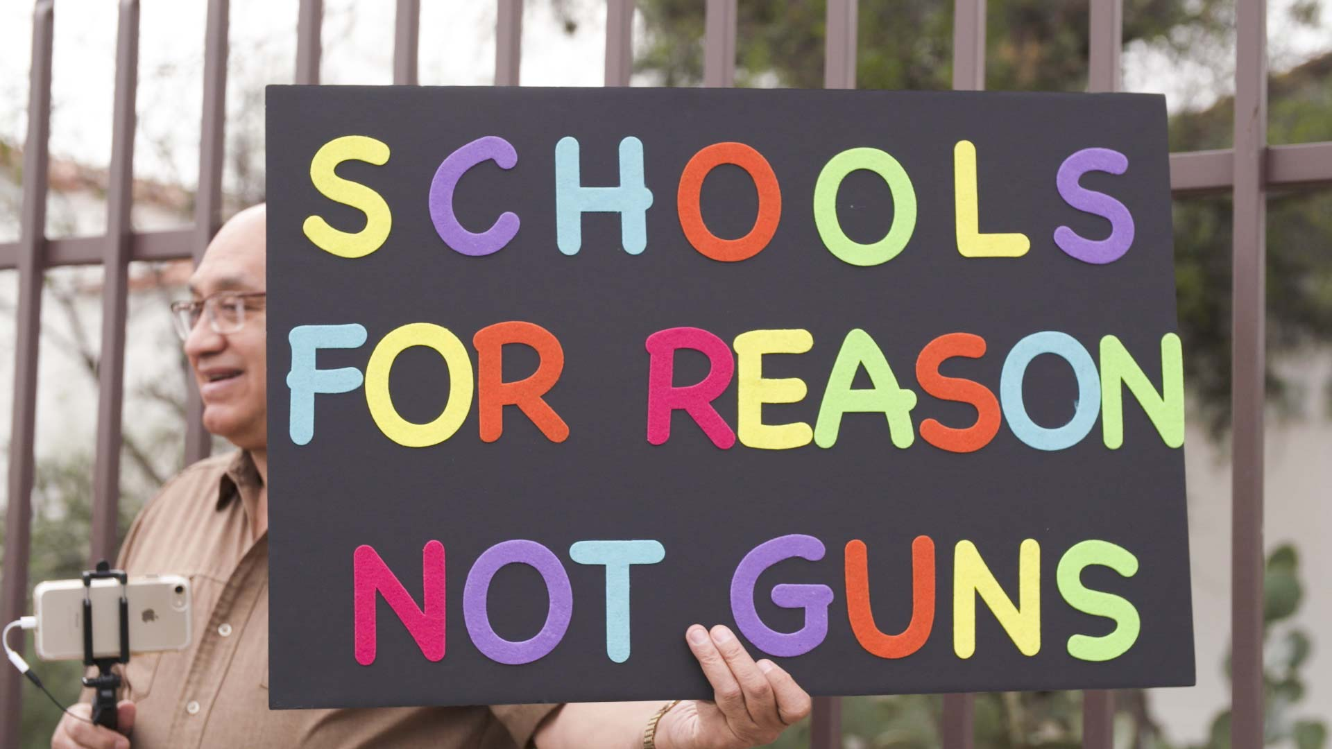 A sign at a Tucson demonstration against gun violence in schools, March 14, 2018.