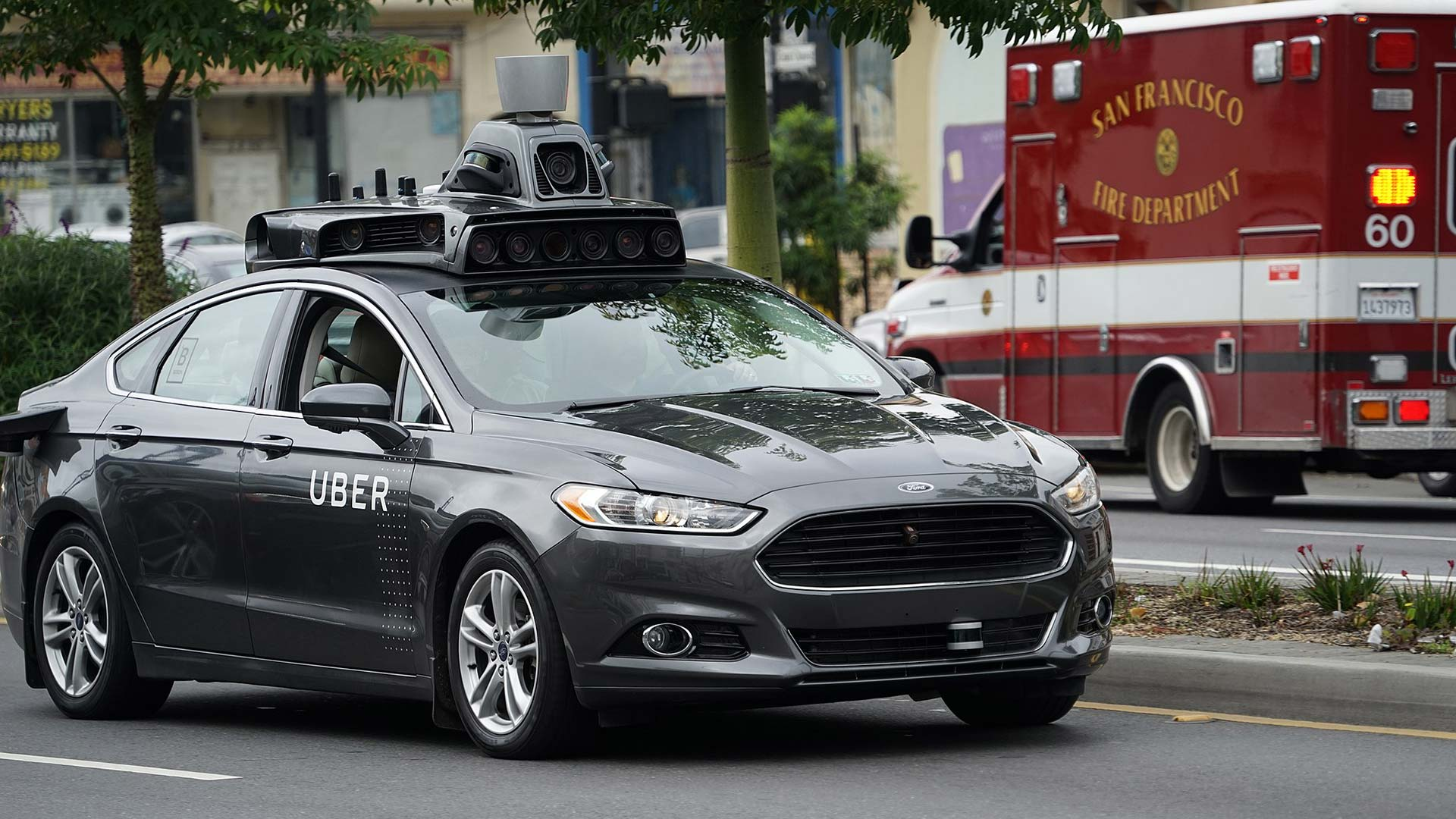 An Uber self-driving vehicle in San Francisco