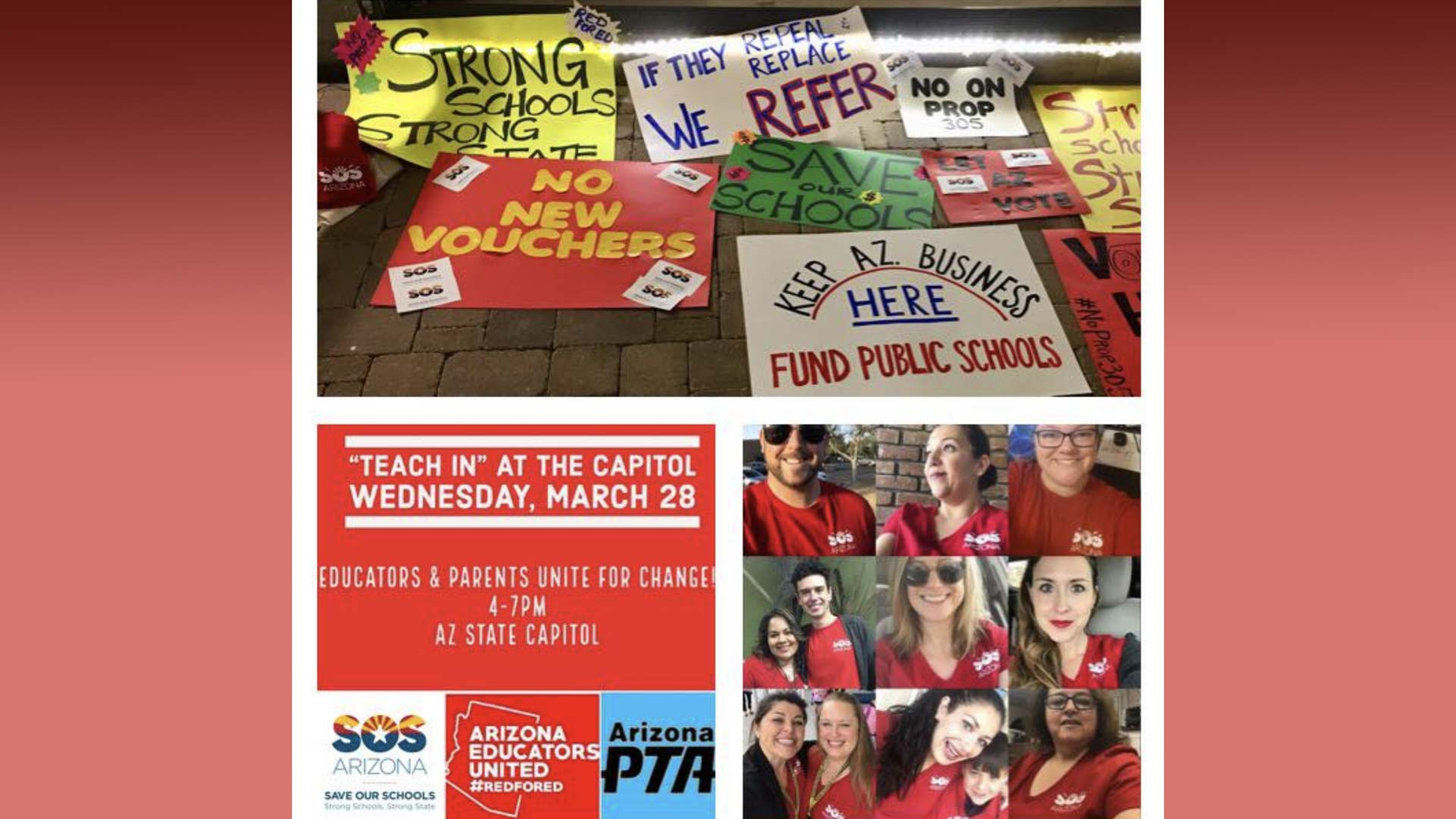 Organizations and advocates posted images on social media in preparation for events planned for Wednesday, March 28, 2018 demanding higher teacher pay. Groups included Save Our Schools and Arizona Educators United.