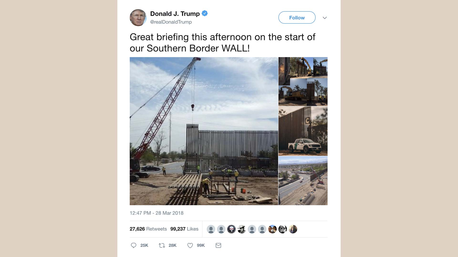 President Donald Trump March 28 tweeted photos purporting show work on a new southern border wall.