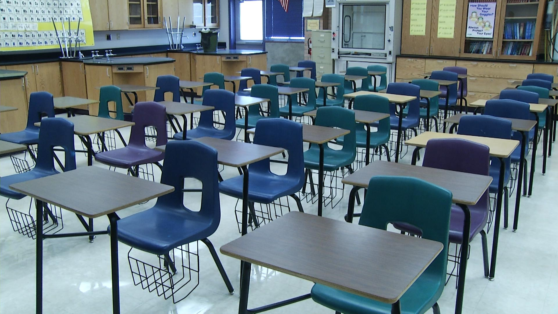 Empty classroom full of chairs in Arizona