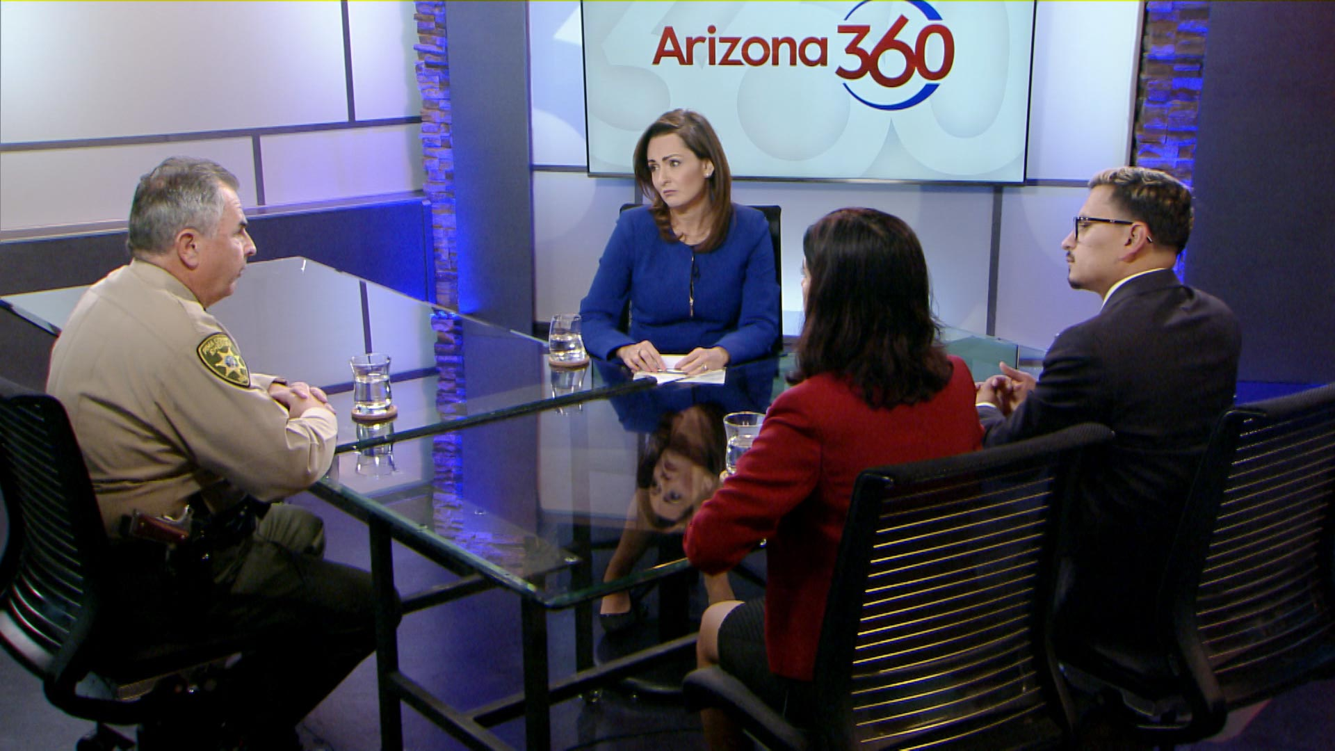 Pima County Sheriff Mark Napier, immigration attorney Patricia Mejia and The Arizona Republic border reporter Rafael Carranza participate in a roundtable discussion led by host Lorraine Rivera about immigration in Southern Arizona.