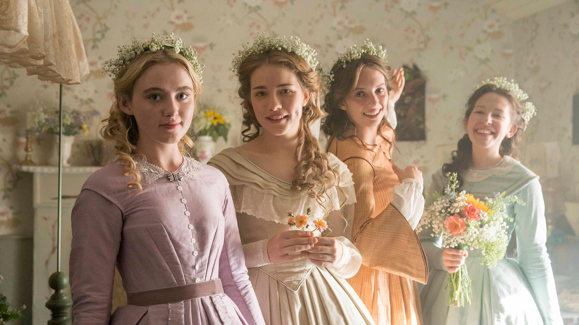 Pictured (l-r): Kathryn Newton as Amy, Willa Fitzgerald as Meg, Maya Hawke as Jo, and Annes Elwy as Beth.