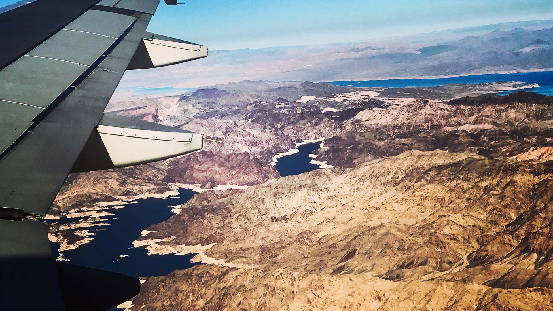 Lake Mead seen from an airplane.