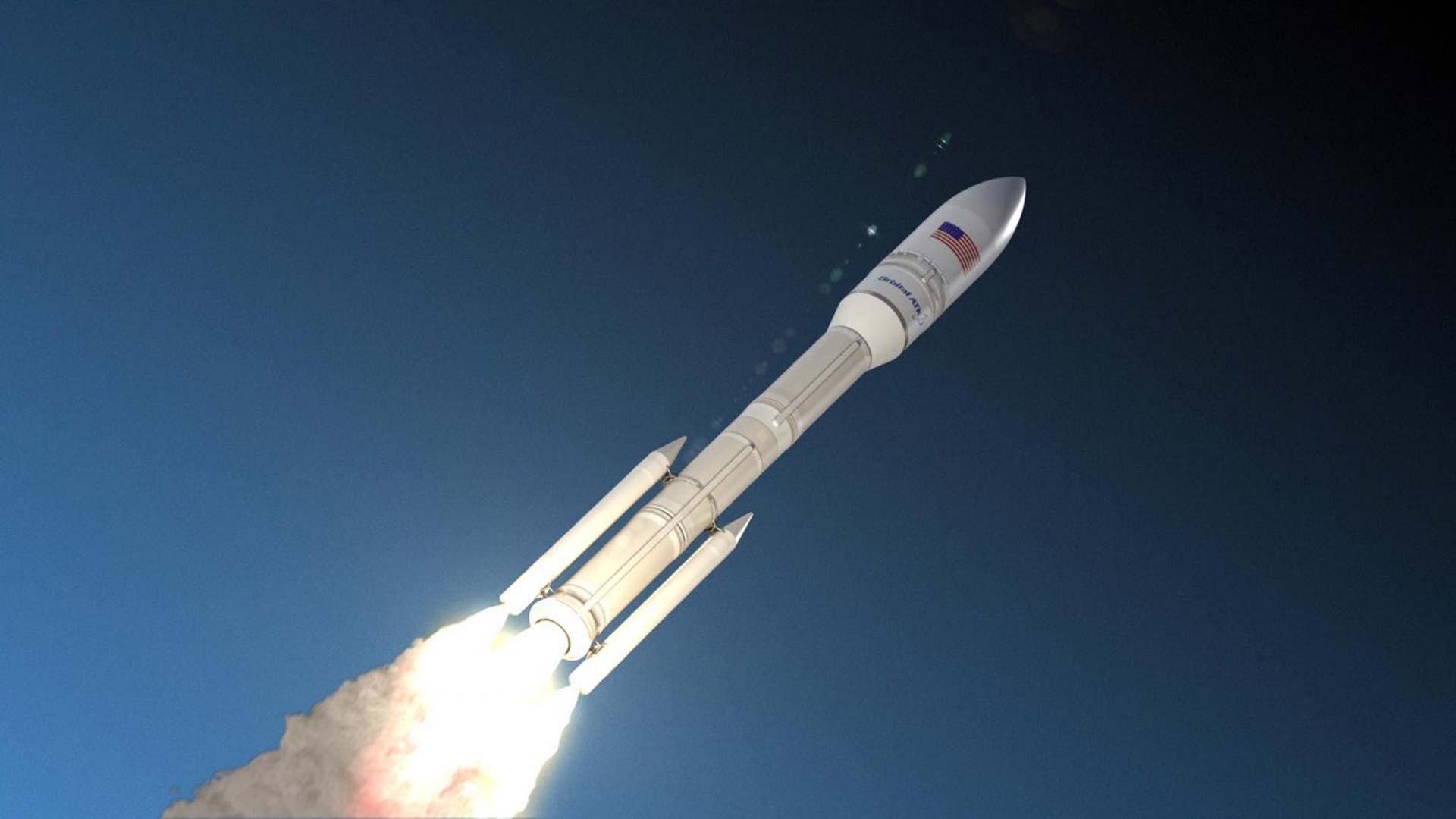An artist's rendition of Orbital ATK's Next Generation Rocket in flight.