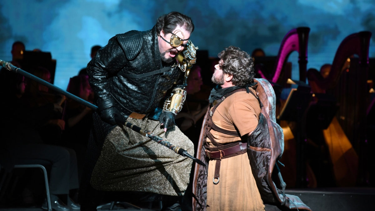 "Mark Delavan (left) stars as Wotan, ruler of the gods, in the Arizona Opera presentation of Richard Wagner's ""Das Rheingold."""