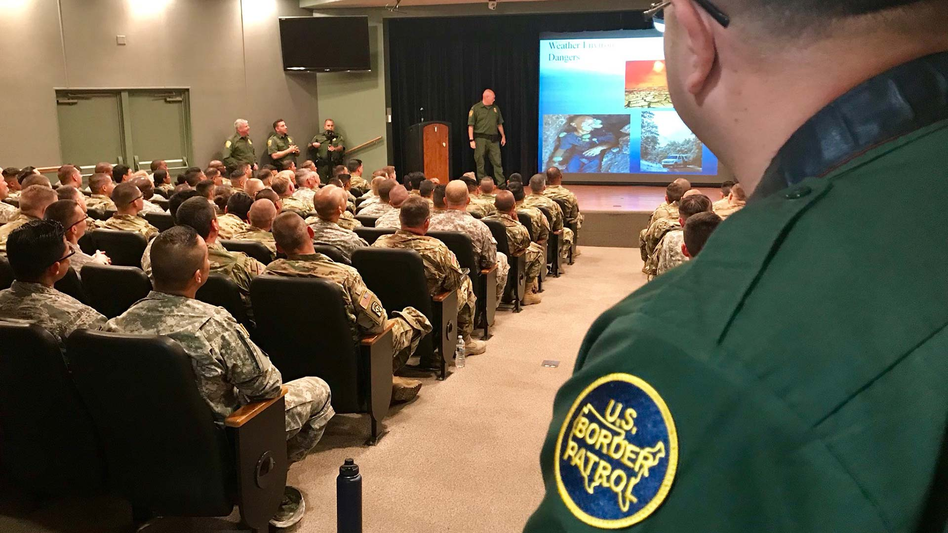 Arizona National Guard members being briefed by Customs and Border Protection on Operation Guardian Shield, posted April 11, 2018.