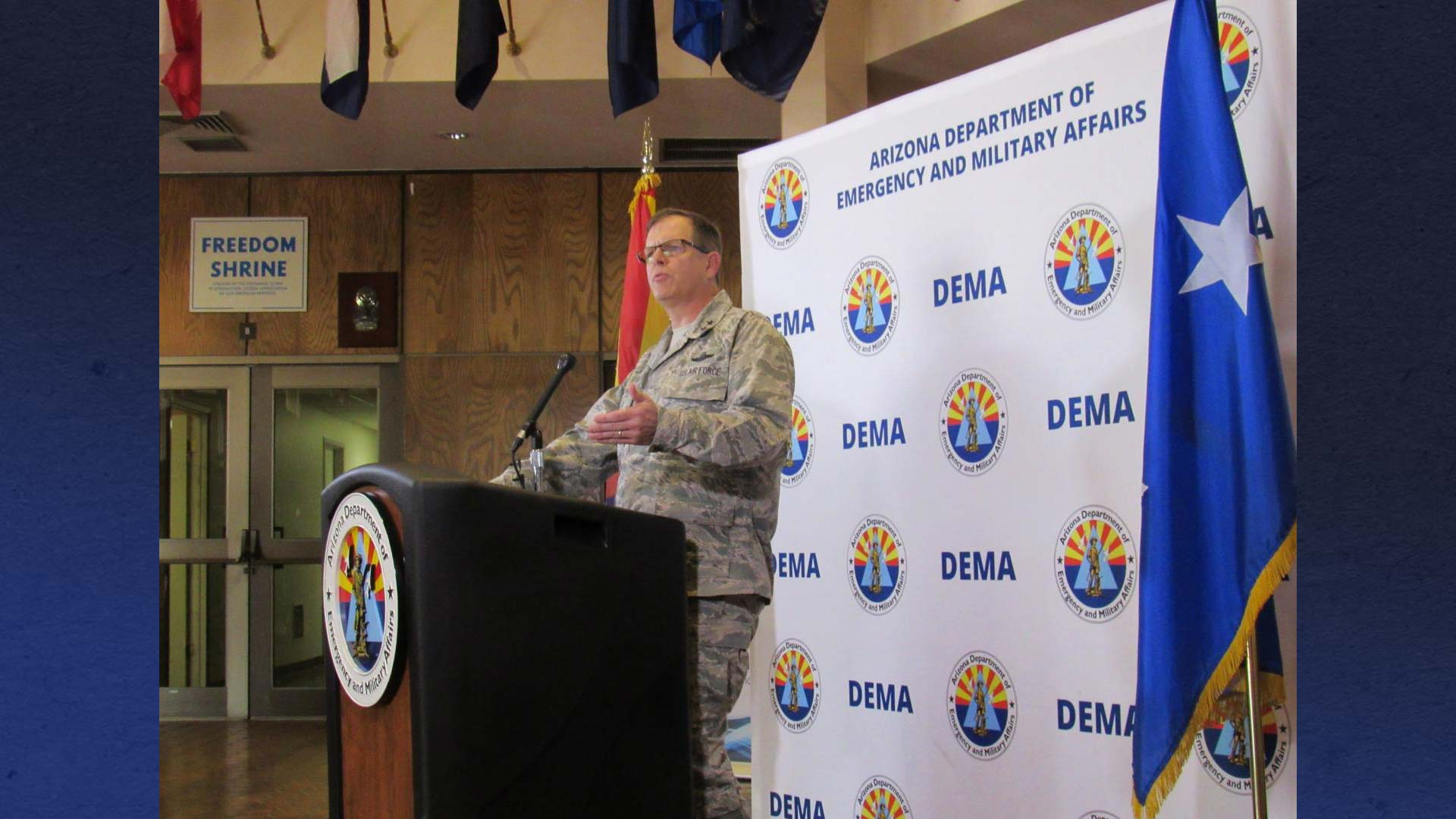 Maj. Gen Michael McGuire, adjutant general and director of the Arizona Department of Emergency and Military Affairs, speaks to reporters during a new conference.