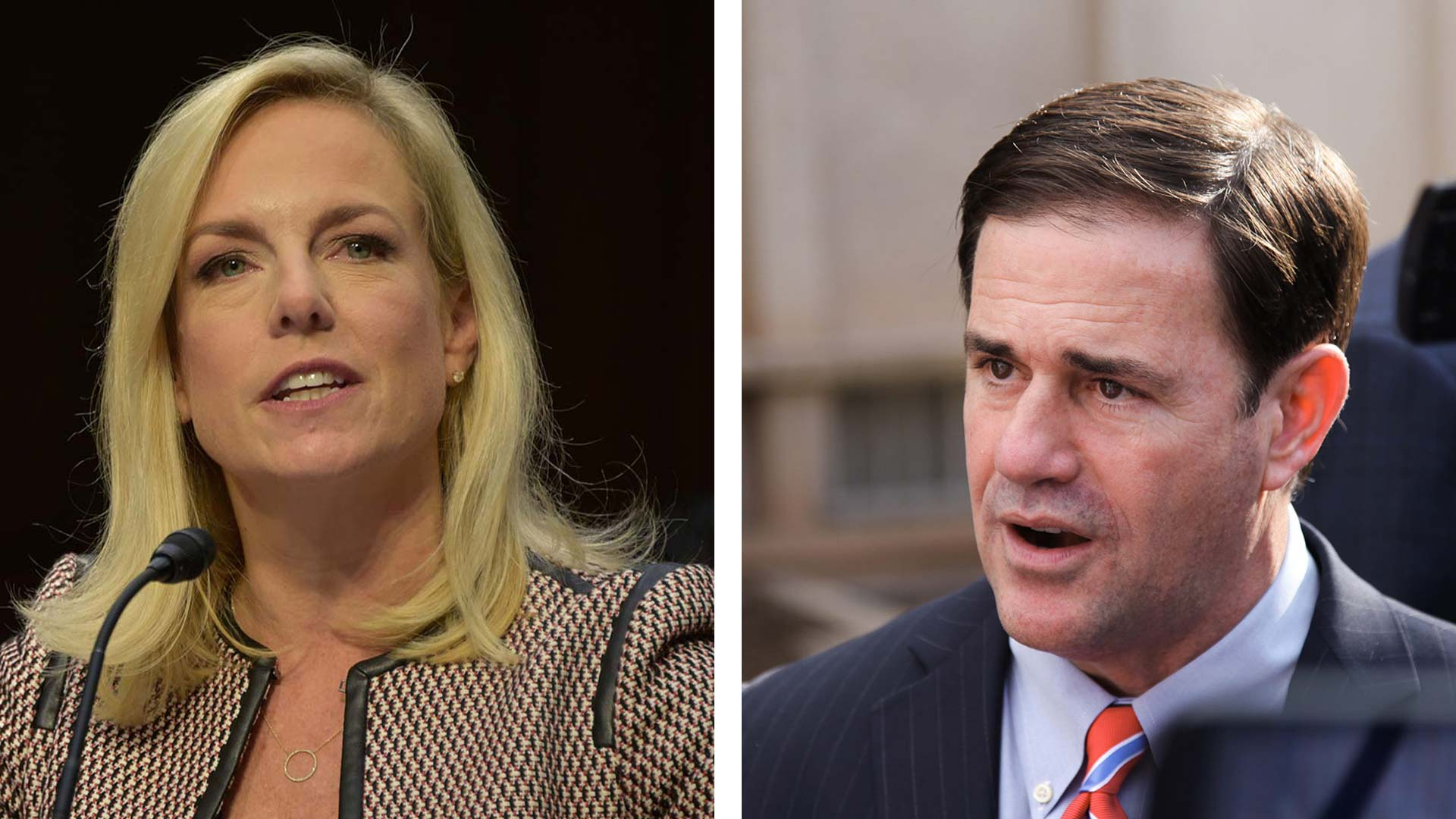 Homeland Security Secretary Kirstjen Nielsen, left, in a file photo from the Department of Homeland Security. Arizona Gov. Doug Ducey, right, in a file photo from AZPM.