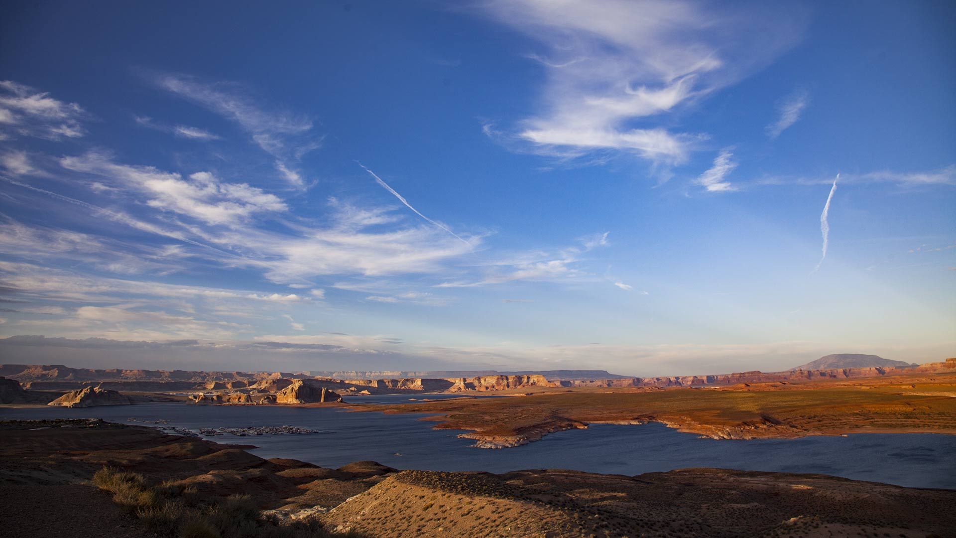 Late-afternoon shadows crawl toward Lake Powell, April 2018.