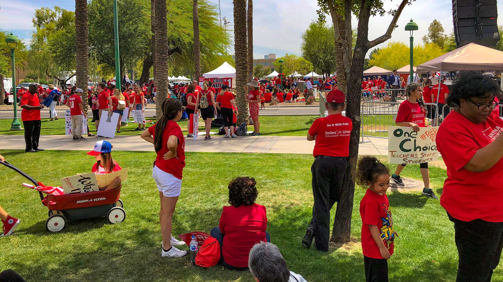 #RedForEd demonstrators gather in a park during a walkout, April 26, 2018. Temperatures that day reached into the upper 90s.