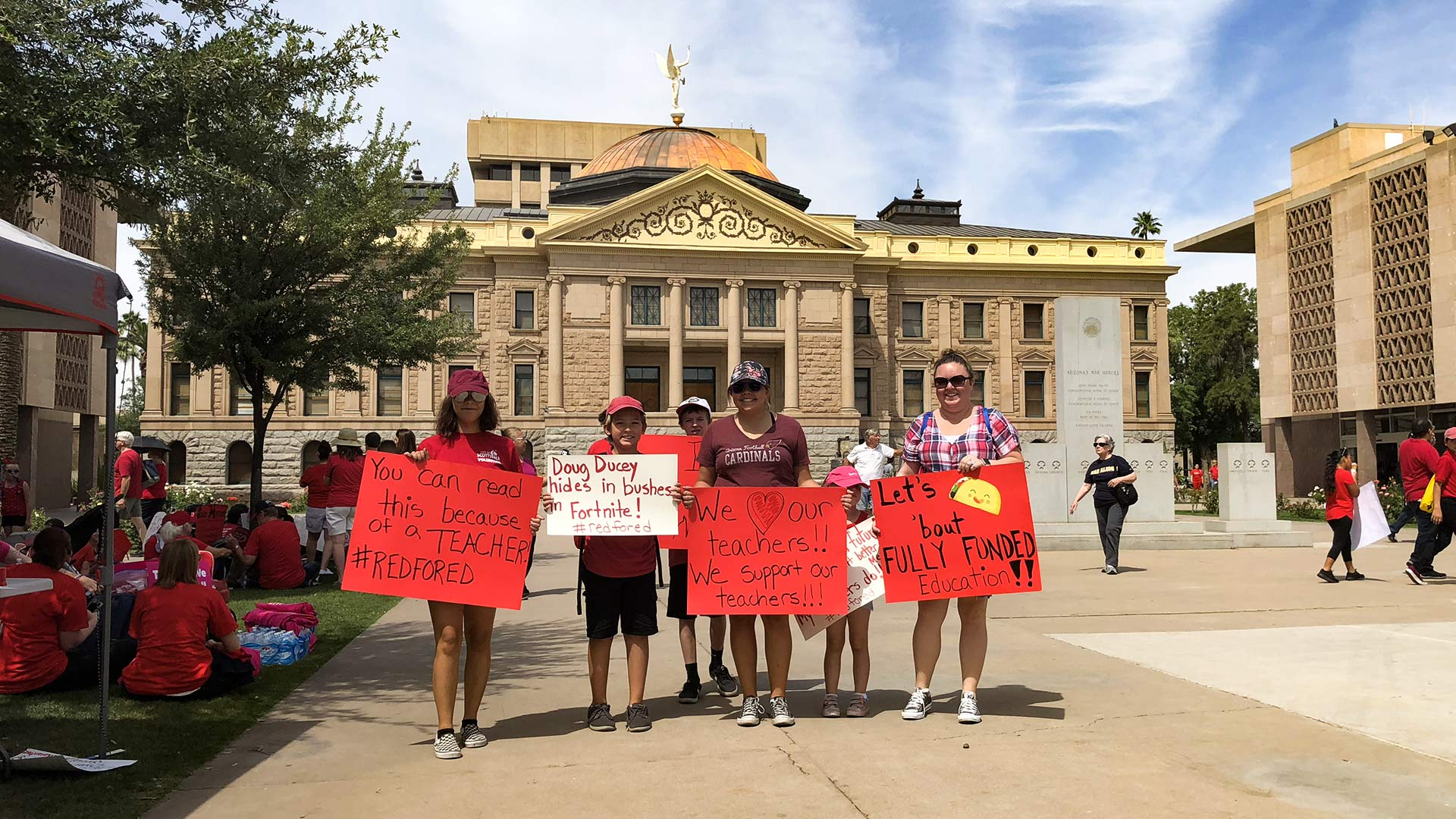 Demonstrators gather in front of the Arizona Capitol for a statewide teacher walkout, April 26, 2018.