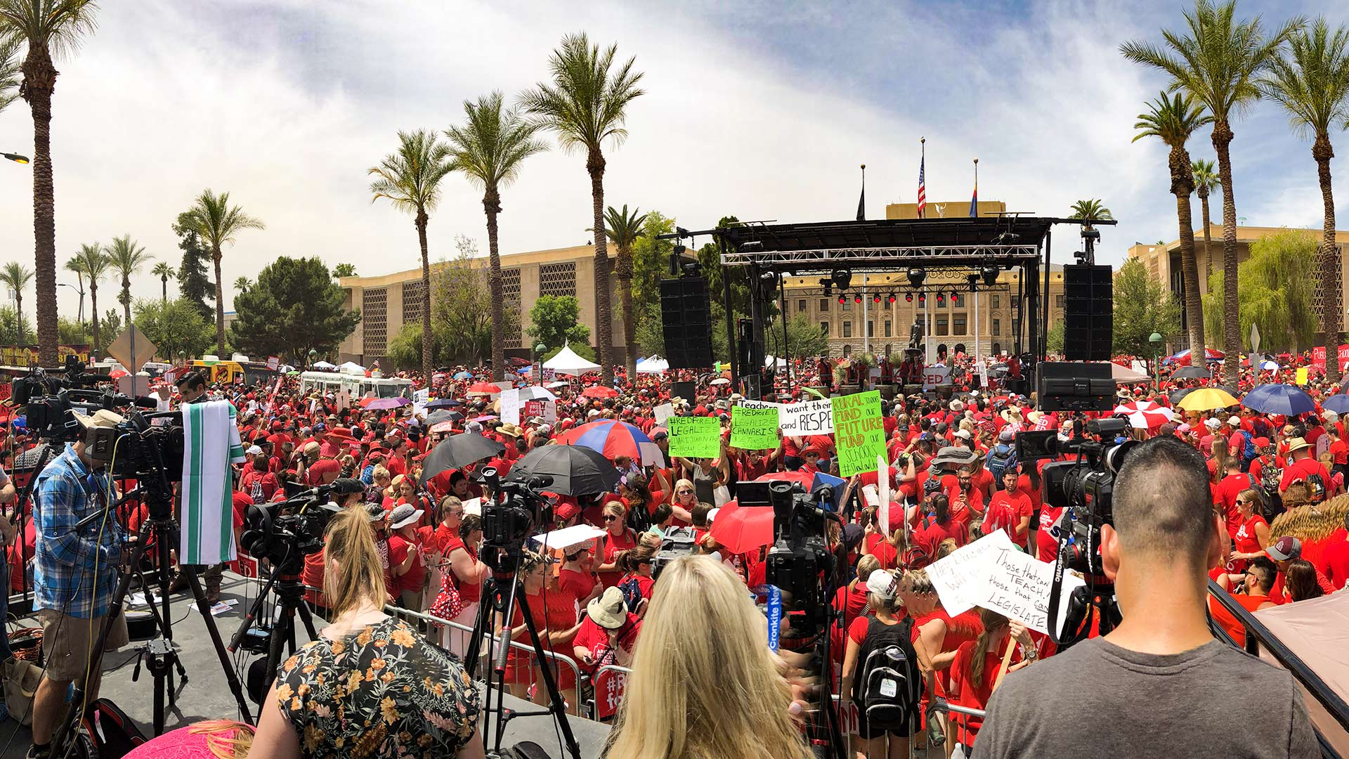 #RedForEd protesters gather in Phoenix, April 26, 2018.