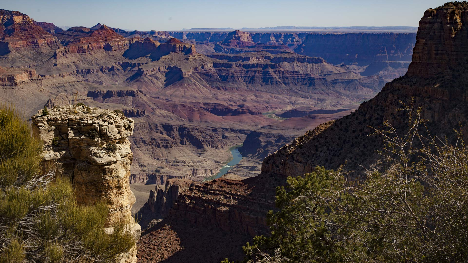 The Colorado River snakes through the Grand Canyon.