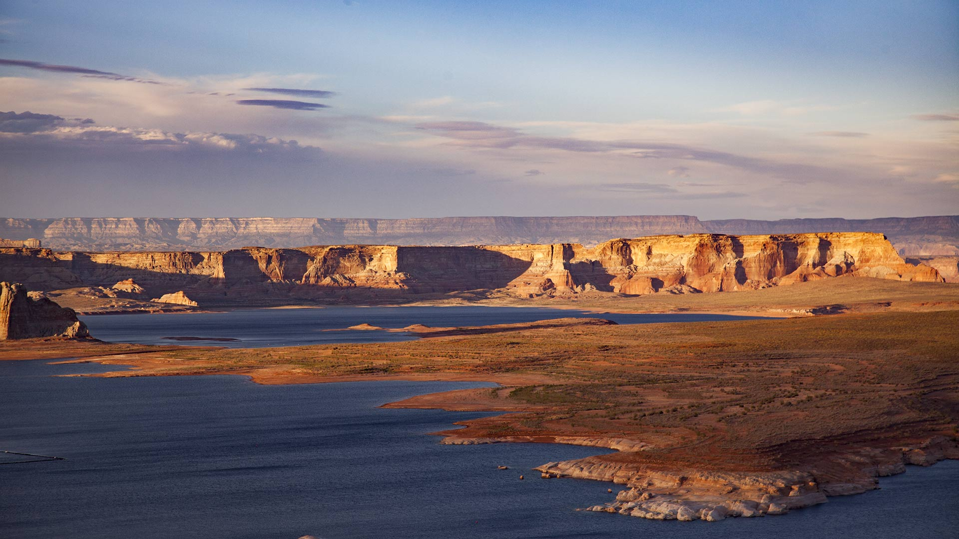 The late-afternoon sun on Lake Powell, April 2018.