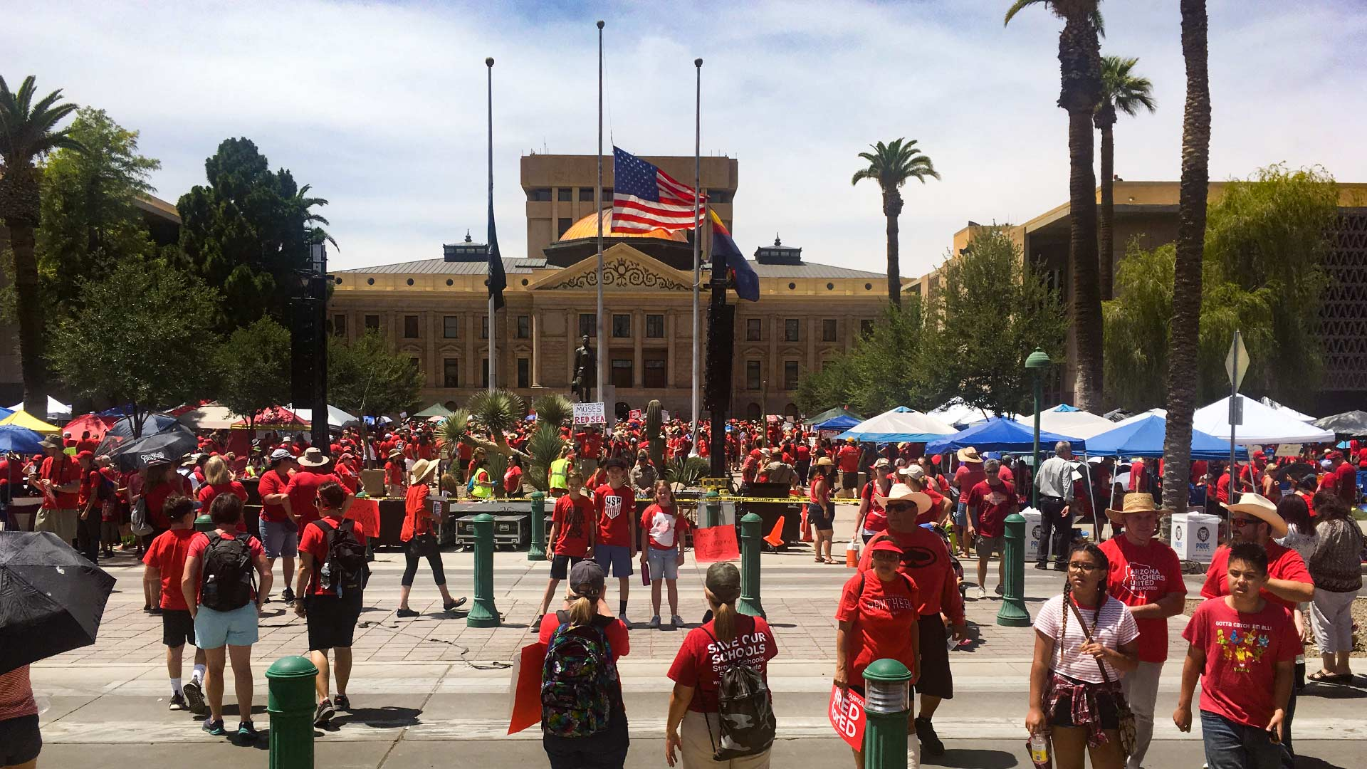 #RedForEd demonstrators at the Arizona Capitol, April 30. The protests continued a walkout that started the previous Thursday to demand education funding. Flags in the photo were