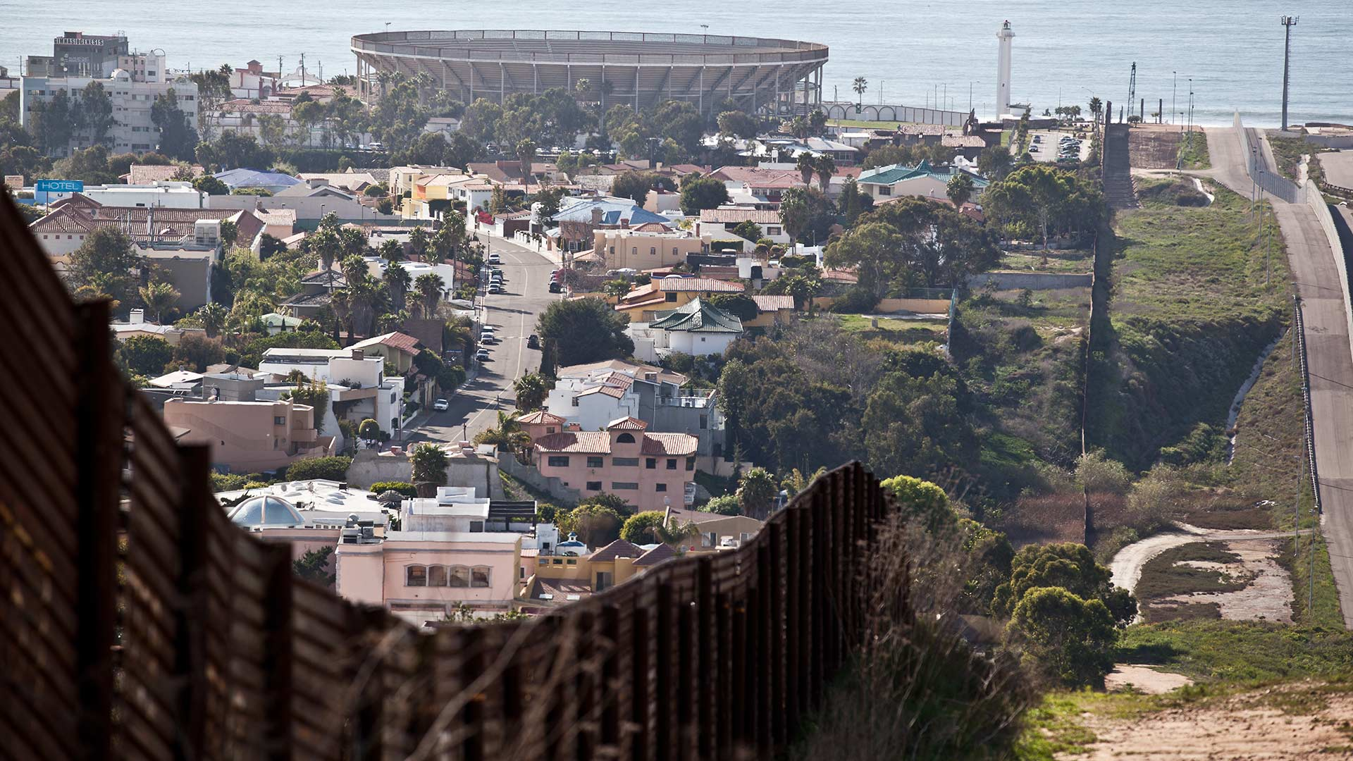 The international line between Mexico and the U.S. ends at the Pacific Ocean, with Tijuana on the left.