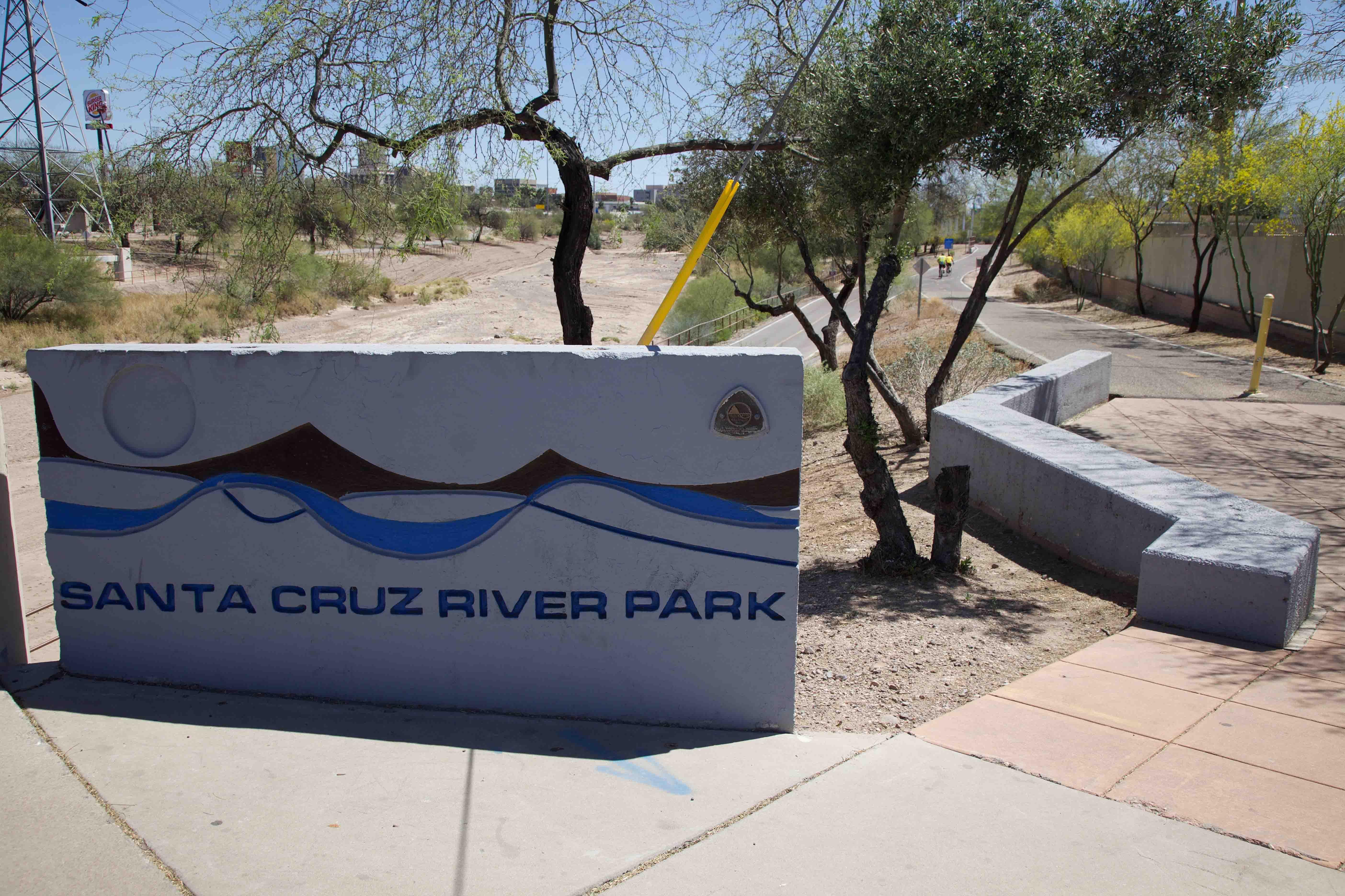 At the St. Mary's Road access to The Loop at the Santa Cruz River Park.