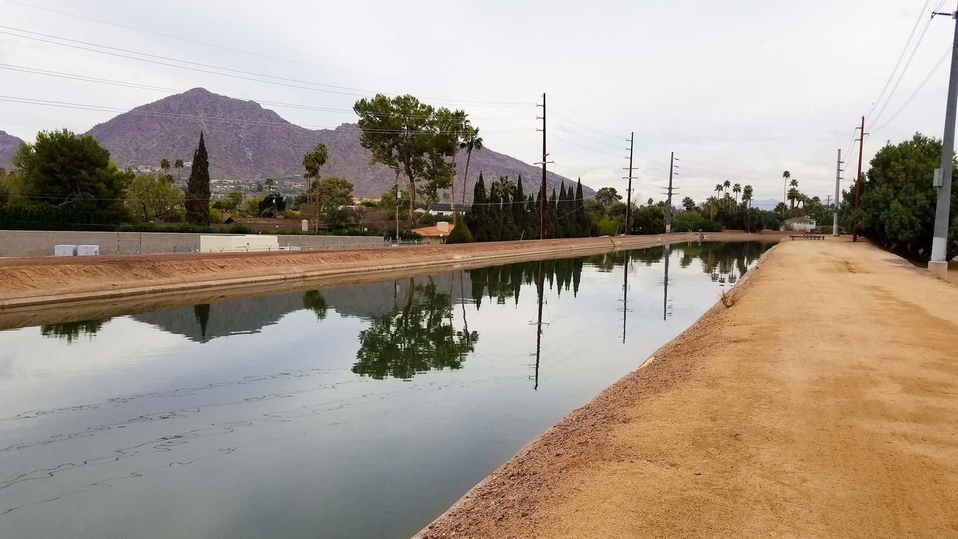View northeast from Arizona Falls along the Arizona Canal toward Camelback Mountain, in Phoenix.