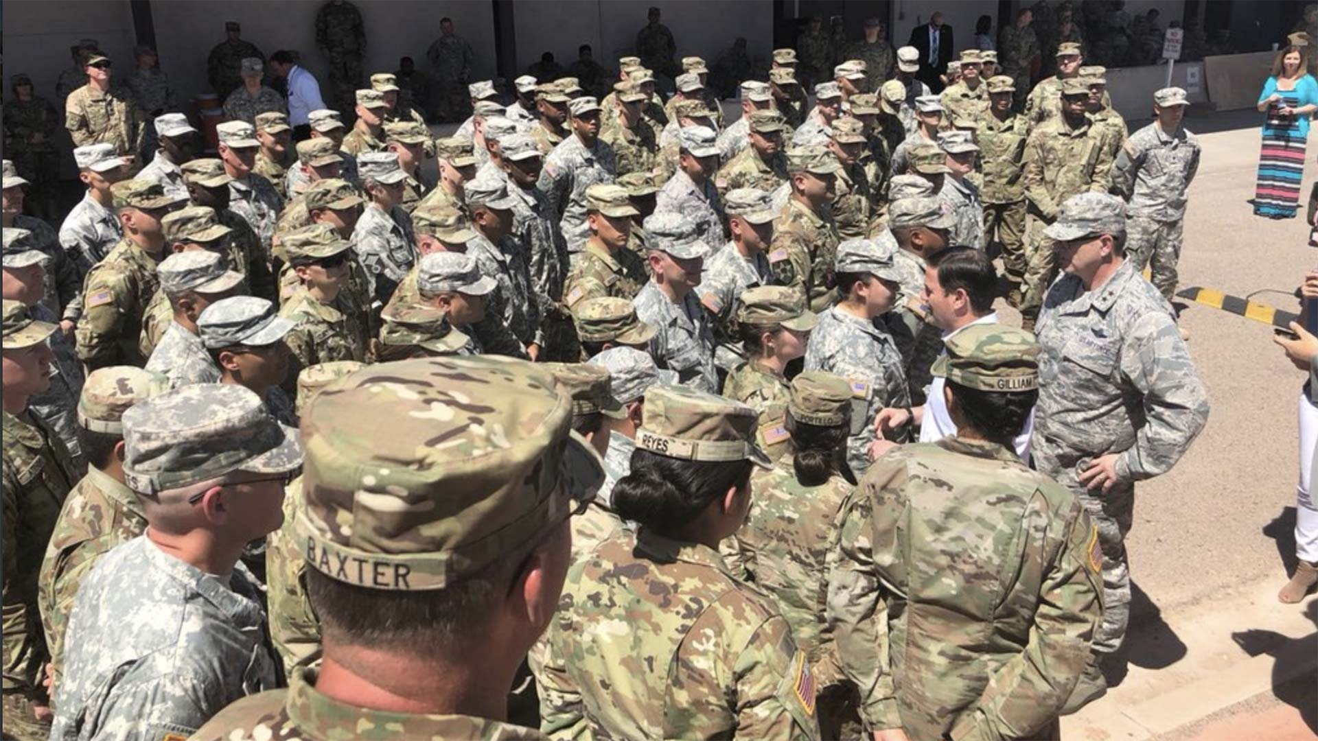 Gov. Doug Ducey with National Guard members being deployed to the Arizona-Mexico border, April 9, 2018.