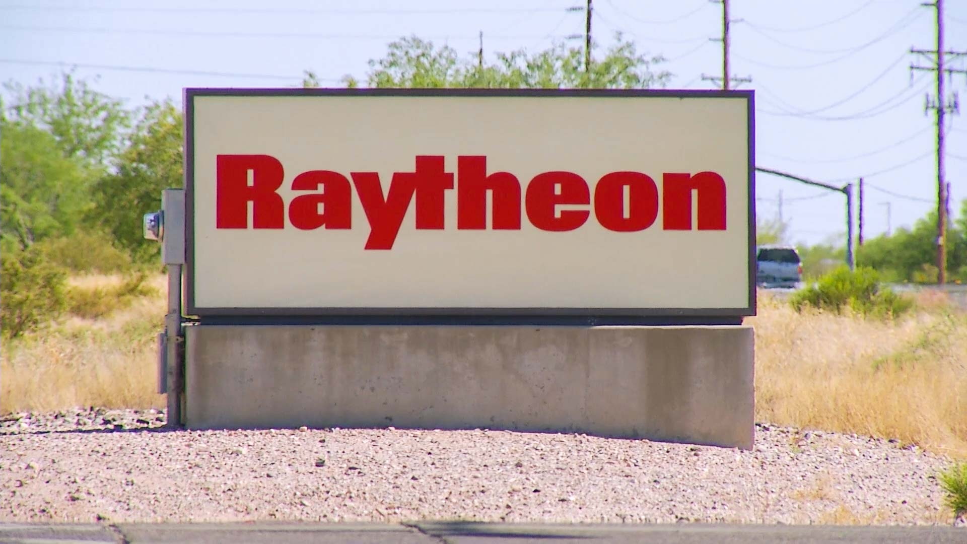 A sign for missile-maker Raytheon.